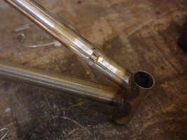Head tube prior to sandblasting