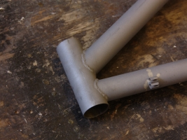 Head tube after sandblasting.